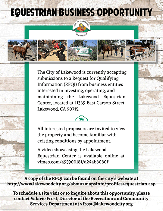 The City of Lakewood is currently accepting submissions to a Request for Qualifying Information (RFQI) from business entities interested in investing, operating, and maintaining the Lakewood Equestrian Center